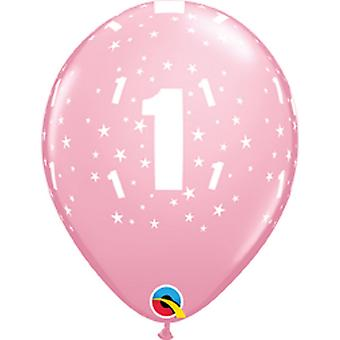 QUALATEX 11 pouces 1er anniversaire étoile impression ballons en latex (Pack de 6)