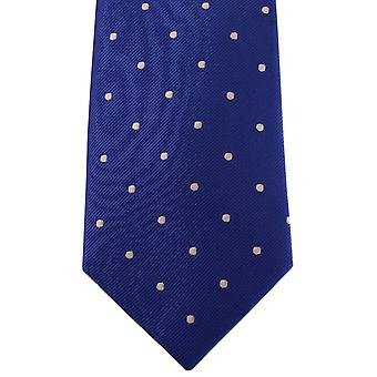 David Van Hagen Polka Dot Tie - Blue/White