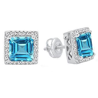 Dazzlingrock Collection 14K 6 MM Each Princess Blue Topaz & Round White Diamond Ladies Stud Earrings, White Gold