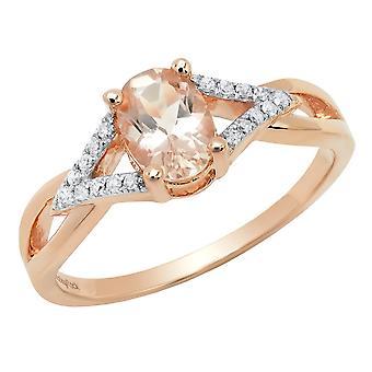 Dazzlingrock Collection 10K Round Morganite & White Diamond Ladies Split Shank Halo Engagement Ring, Rose Gold