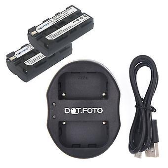 Dot.Foto Sony NP-F550 vara-akku (2 kpl) + Dual USB-laturi