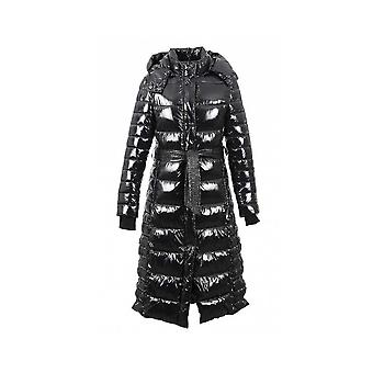 Oakwood Women's Leane Black Shiny Nylon Hooded Long Jacket