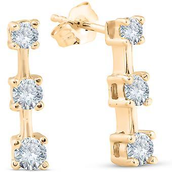 les trois pierres 1ct diamant boucles d'oreilles 14K or jaune