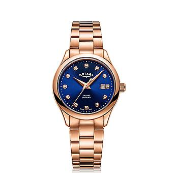 Rotary Oxford Quartz Rose Gold PVD Stainless Steel Blue Dial Ladies Watch LB05096/05/D