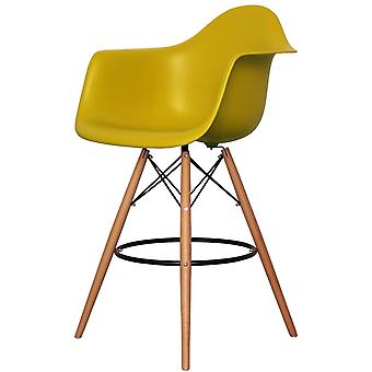 Charles Eames Style Mustard Yellow Plastic Bar Stool With Arms