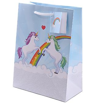 Unicorn gift bag incl. gift tag light blue, multicolor single-set printed, made of paper.