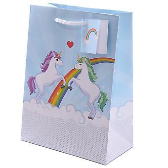 Unicorn gift bag incl. gift tag light blue, multicolore single-set stampato, fatto di carta.