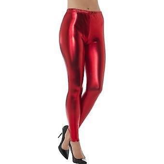 80's Metallic Disco Leggings, Red