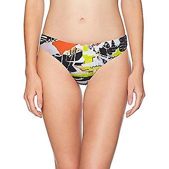 Bikini Lab Women's Hipster Bikini Swimsuit, White//News Flash, Size Small