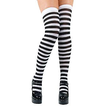 Wicked Costumes Black & White Candystripe Thigh Highs