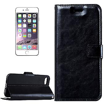 For iPhone 8 PLUS,7 PLUS Wallet Case,Modern Horse Texture Leather Cover,Black