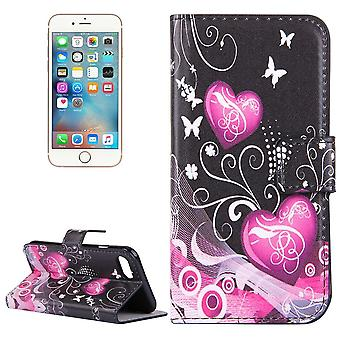 For iPhone SE(2020), 8 & 7  Wallet Case,Hearts, Butterflies Durable Protective Leather Cover