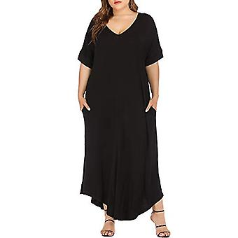 Frauen's Kurzarm Plus Größe Maxi Kleider Casual Lose Floral, schwarz, Größe 3.0