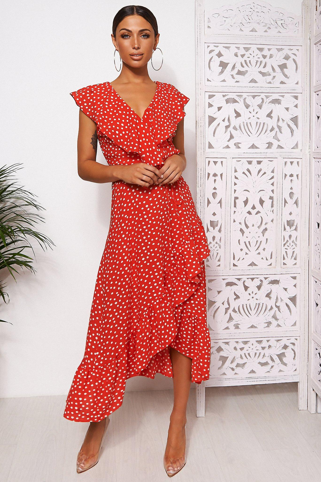 Mica Polka Dot Frill Wrap Midi Dress