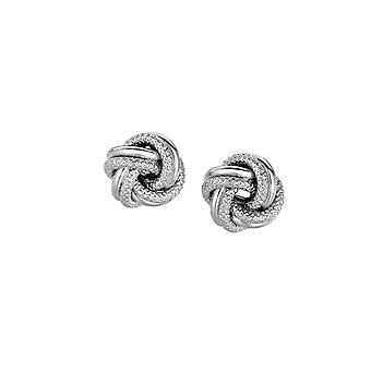 925 Sterling Silver With Rhodium Finish 7.0mm Shiny Textured Love Knot Earrings Jewelry Gifts for Women
