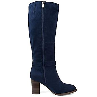 Brinley Co Comfort Womens Side Strap Riding Boot Navy, 7.5 Extra Wide Calf US