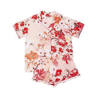 Minijammies 5550 Girl's Darcie Coral Orange Floral Print Cotton Pyjama Short Set