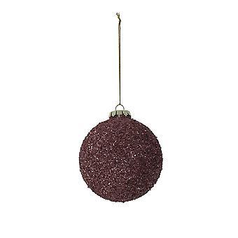 Lys & Levende Christmas Bauble Runde 8cm Ball Glass Mørk Rød Lilla Glit