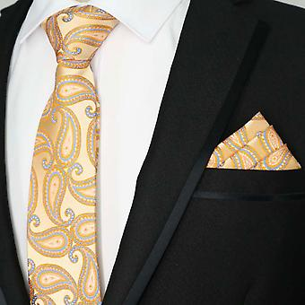 Peach orange paisley pattern tie & pocket square set