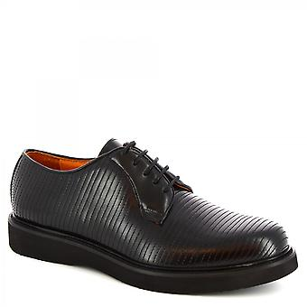 Leonardo Shoes Men's handmade lace-ups casual shoes in black calf leather