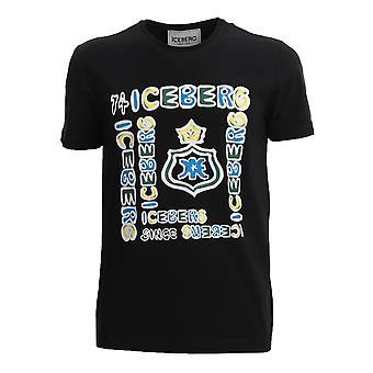 Iceberg F01b63099000 Men's Black Cotton T-shirt