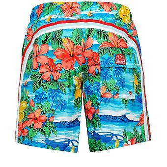 Sundek Mid-Length Hawaiian Swim Shorts