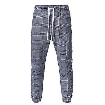 Allthemen Men's Casual Cool Sznurek Plaid Sport Czarne spodnie Capri