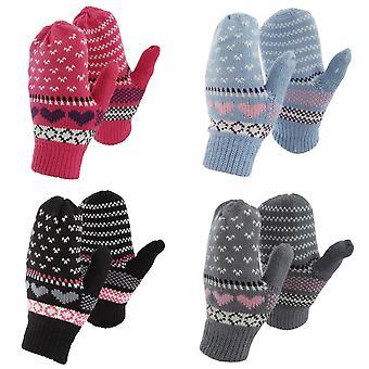 Womens/Ladies Fairisle Heart Design Winter Mittens