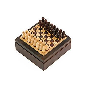 3 Inch Rosewood Pegged Mini Travel Chess Set