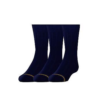 Gold Toe Boys ' široké rebrá šaty posádky ponožky, 3-pair, námorníctvo, malé