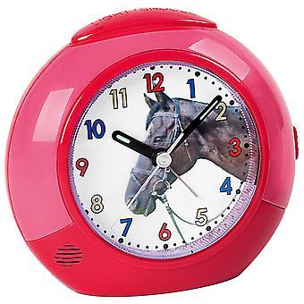 Атланта 1984/1 будильник лошадь для детей детей будильник розовый красный конь тихий Будильник