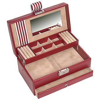 Sacher Jewelry Case Jewelry Box YOUNG Red Beige Lock Mirror Drawer