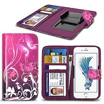 i-Tronixs Allview P5 Energy Case PU Leather Purple Butterfly Printed Design Pattern Wallet Clamp Style Spring Skin Cover- Purple Butterfly