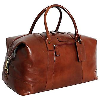 Ashwood Leather Chelsea Veg Tan Harold Large Travel Holdall - Chestnut