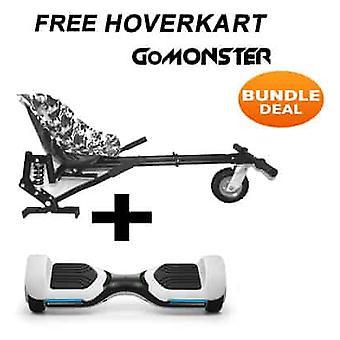 "6.5"" G PRO White Bluetooth Hoverboard with Go Monster Hoverkart in Camo"
