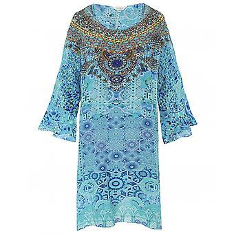 Inoa Atlantis Short Silk Frill Sleeve Kaftan