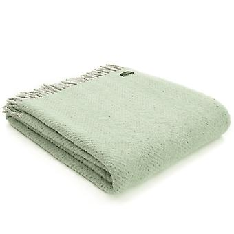 Tweedmill Pure New Wool Herringbone Silver Grey & Laurel Green Throw