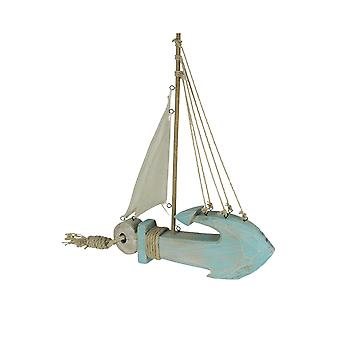 Finition altérée Wooden Nautical Anchor Sailboat Tabletop Accent Statue