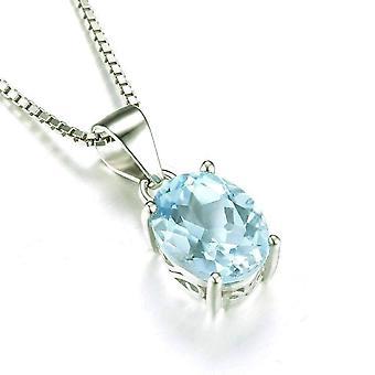 Ice blue genuine topaz oval cut 2ct iobi precious gems pendant necklace