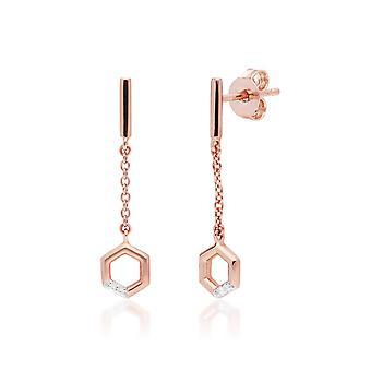 Diamant-Pave Sechseck baumeln Tropfen Kette Ohrringe in 9ct Rose Gold 191E0404019