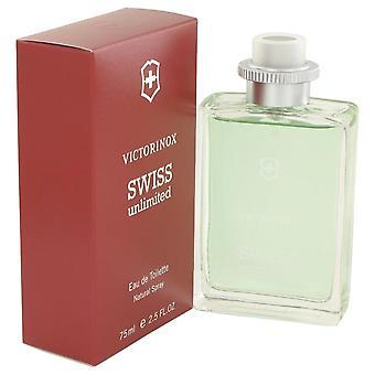 Schweiziske ubegrænset Eau De Toilette Spray af Victorinox 2.5 oz Eau De Toilette Spray