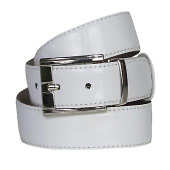 Boys Faux Leather Patent White Belt