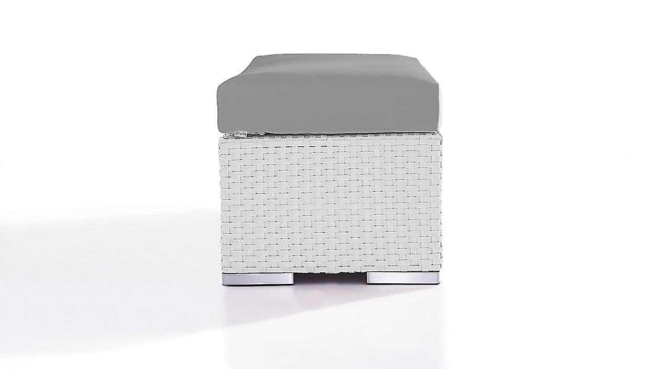 Polyrattan Cube Tabouret 45 cm - satiné blanc
