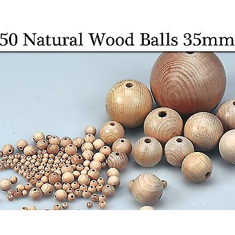 50 Untreated 35mm Wooden Bead Balls with Threading Holes for Crafts