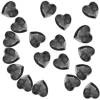 86 Acryl 12mm Diamante Herz Tisch Streuung für Hochzeiten und Partys - schwarzer Quarz