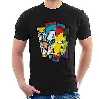 Marvel Avengers Sliced Face Comic Strip Men's T-Shirt