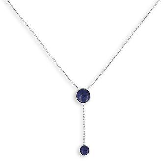 ADEN 925 Sterling Silber Lapis Lazuli Runde Form Halskette (id 4439)