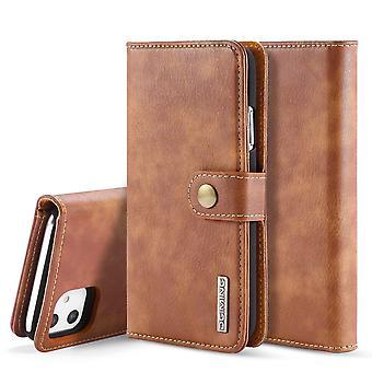 Dg. MING iPhone 11 Split Leather wallet Case-brown