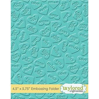 Taylored Expressions Conversation Hearts Embossing Folder