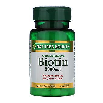 Nature's Bounty, Biotin, 5,000 mcg, 60 Quick Dissolve Tabletter